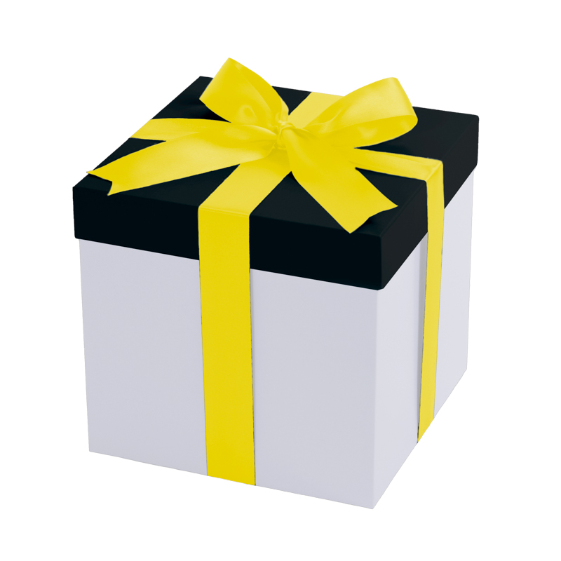 White gift box, black lid with a yellow ribbon