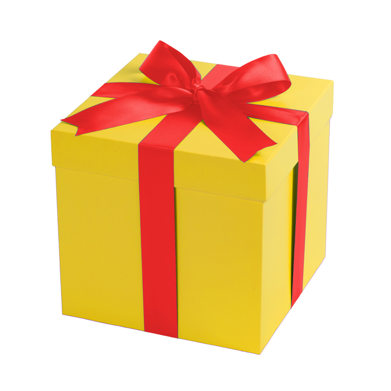 Gift box yellow with a red ribbon