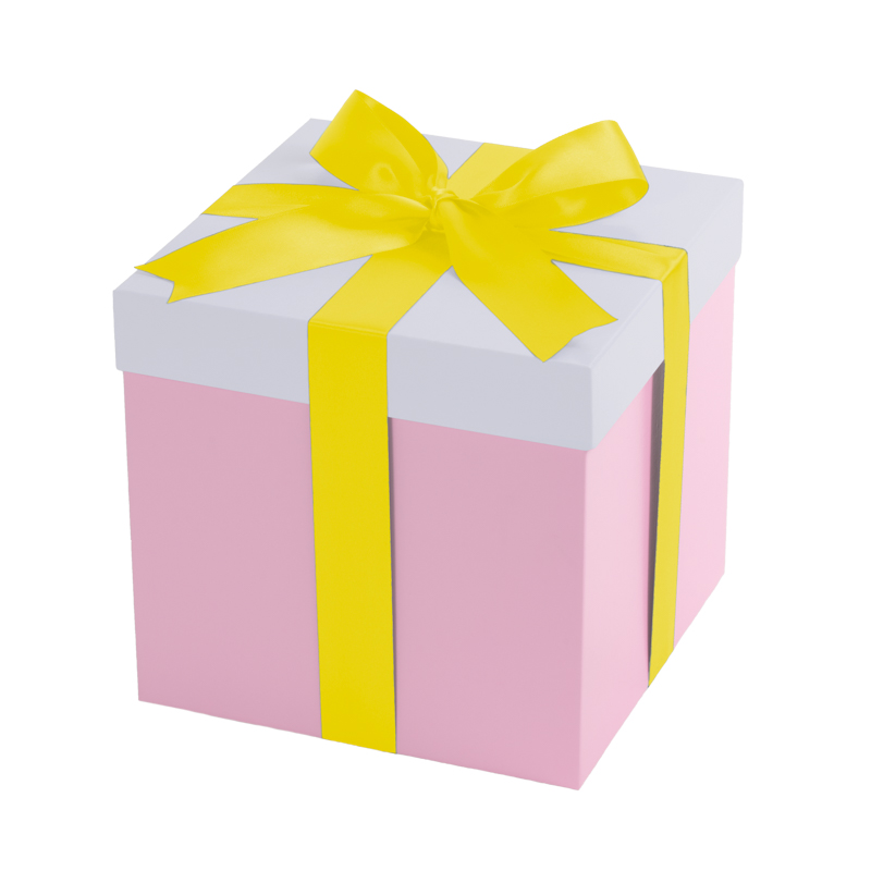 Pink gift box, white lid with a yellow ribbon
