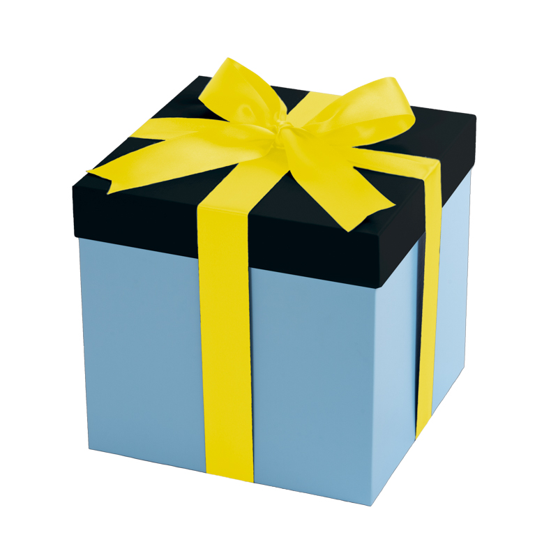 Baby blue gift box, black lid with a yellow ribbon