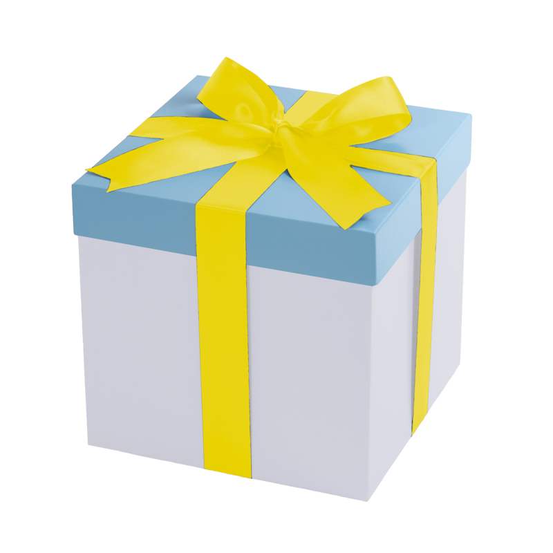 White gift box, baby blue lid with a yellow ribbon
