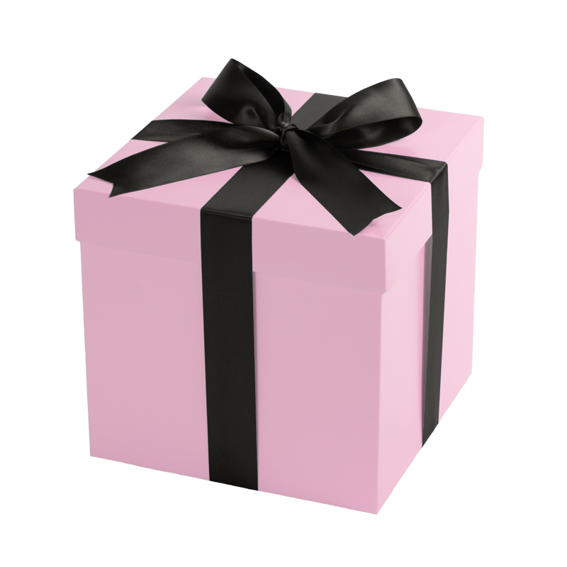 Gift box pink with a black bow