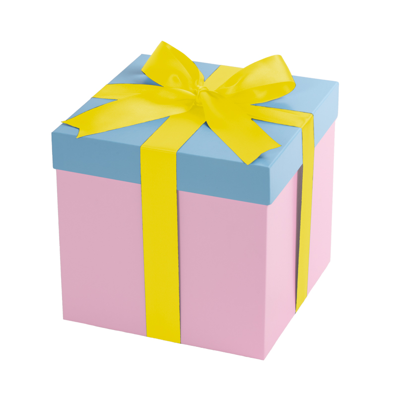 Pink gift box, baby blue lid with a yellow bow