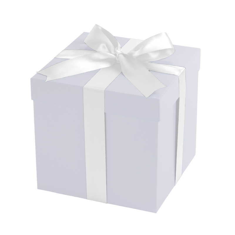 Giftbox white with a white bow