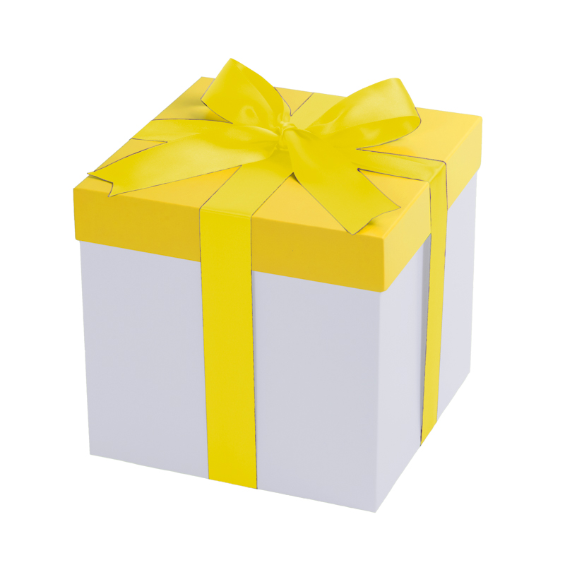 White gift box, yellow lid with a yellow bow