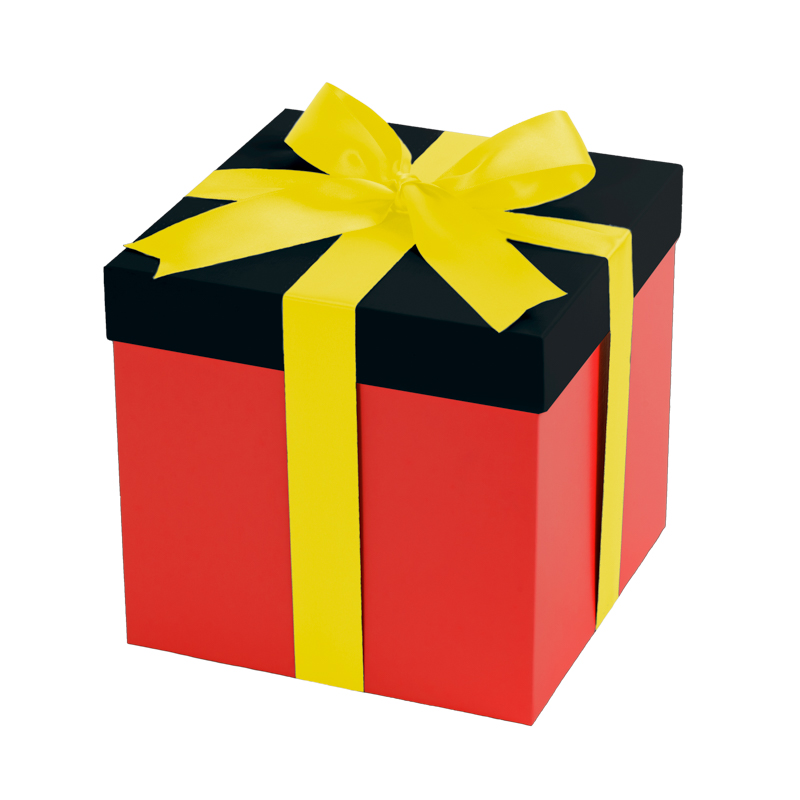 Red gift box, black lid with a yellow ribbon