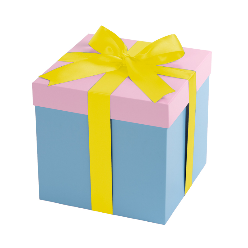 Baby blue gift box, pink lid with a yellow bow