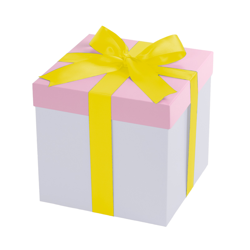 White gift box, pink lid with a yellow bow