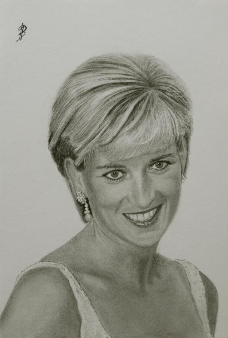 Portrettekening van Lady Diana, Lady Diana 1997, portrait drawing Lady Diana, Diana spencer portrait drawing, portret getekend met potlood van Lady Di
