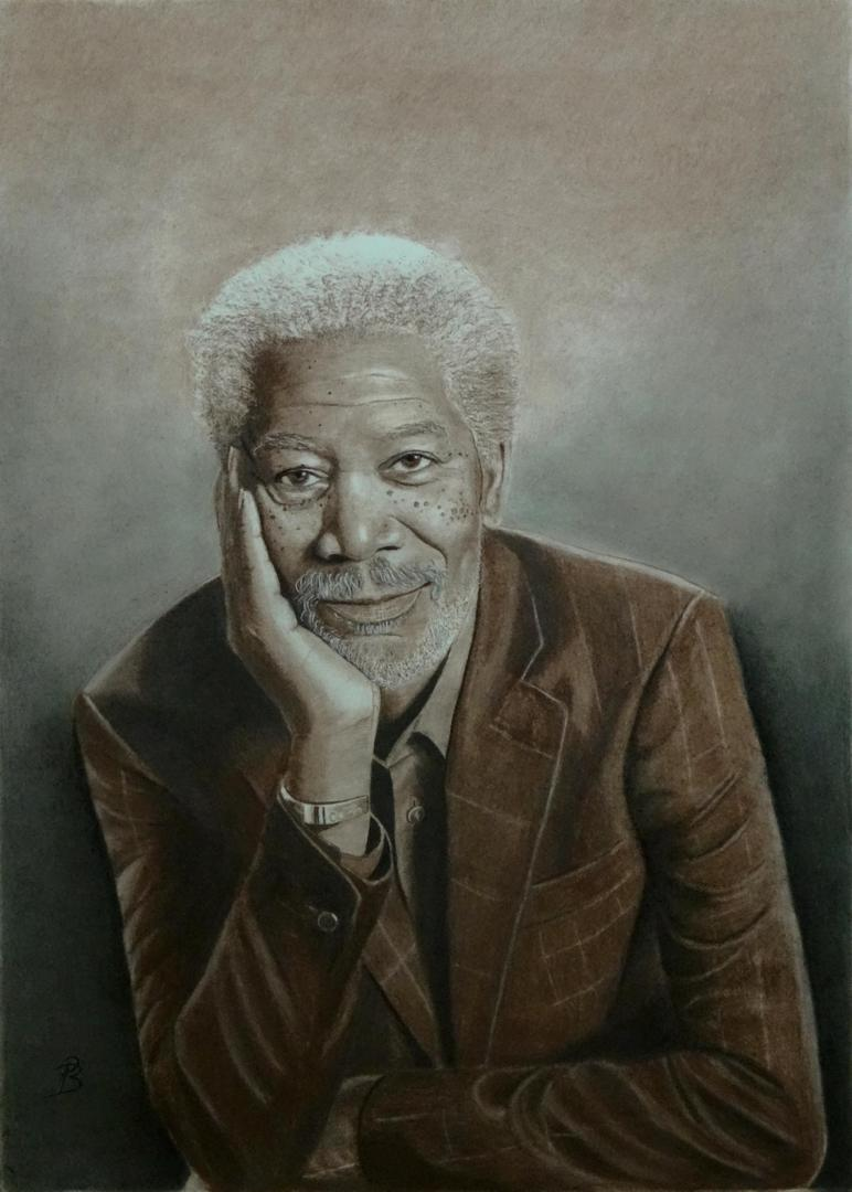 Morgan Freeman, portrait drawing
