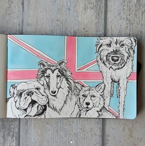 Ink ecoline art British dogs with Union Jack