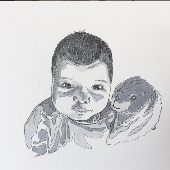 Ink art baby portret
