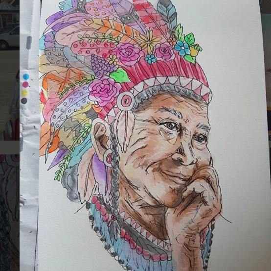 Coloured ecoline ink art Dreamy Native American