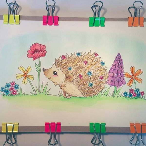 Ecoline art Cute happy hedgehog with flowers