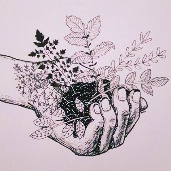 Ink art Hand with herbs