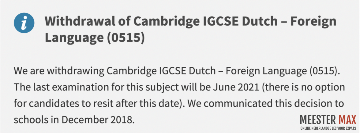Withdrawal of Cambridge IGCSE Dutch - Foreign Language - 0515 - Meester Max