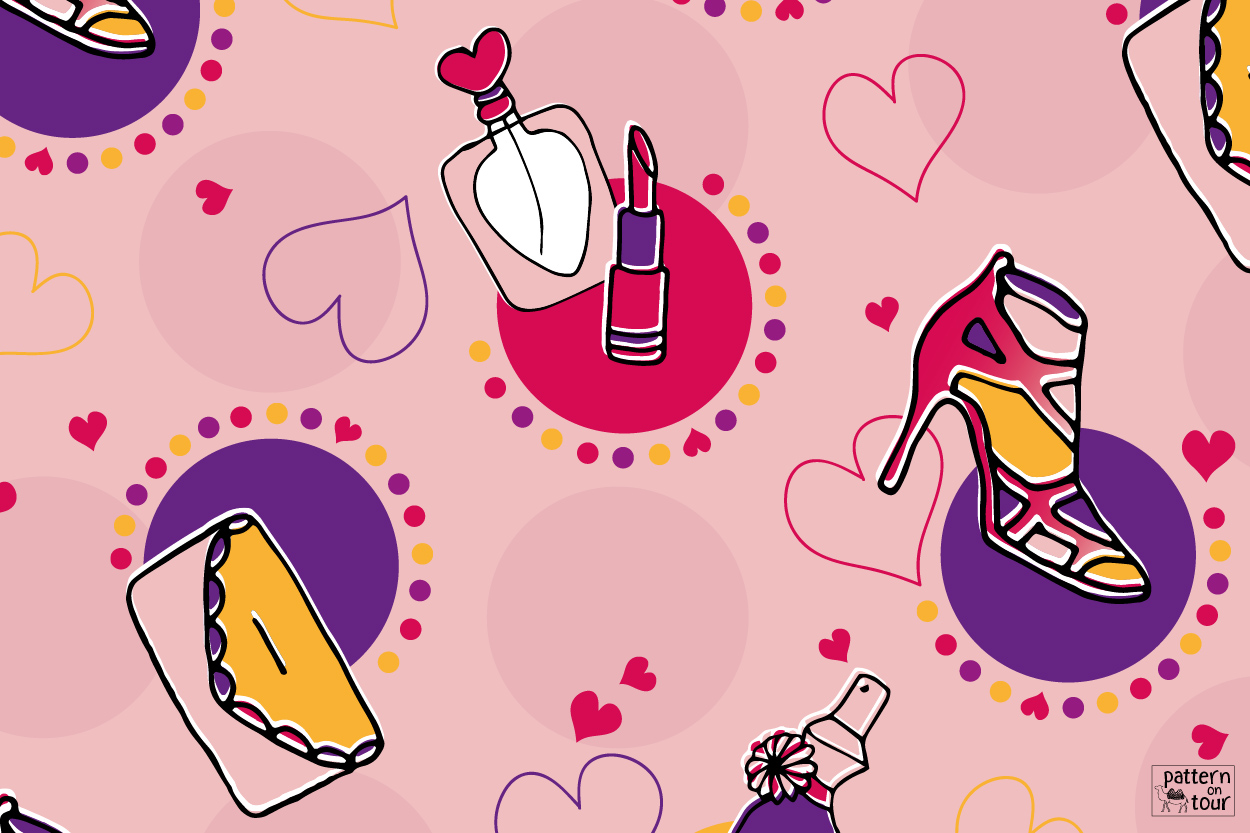 Pattern on tour, girls things, meiden, parfum en make-up, hart, bedding, interior, dessin