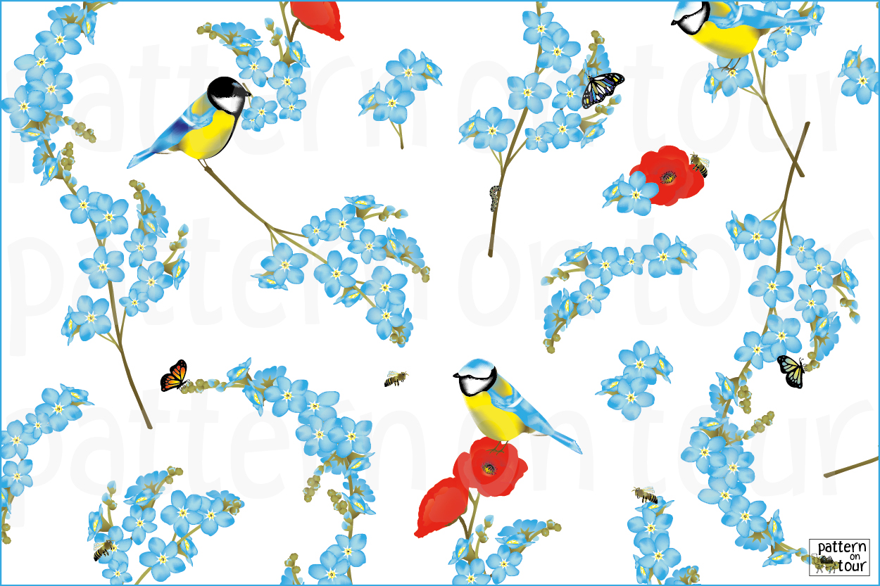 Pattern on tour dessin room patronen patroon kamer wallpaper summer behang adult teenage child titmice bird flowers pimpelmees