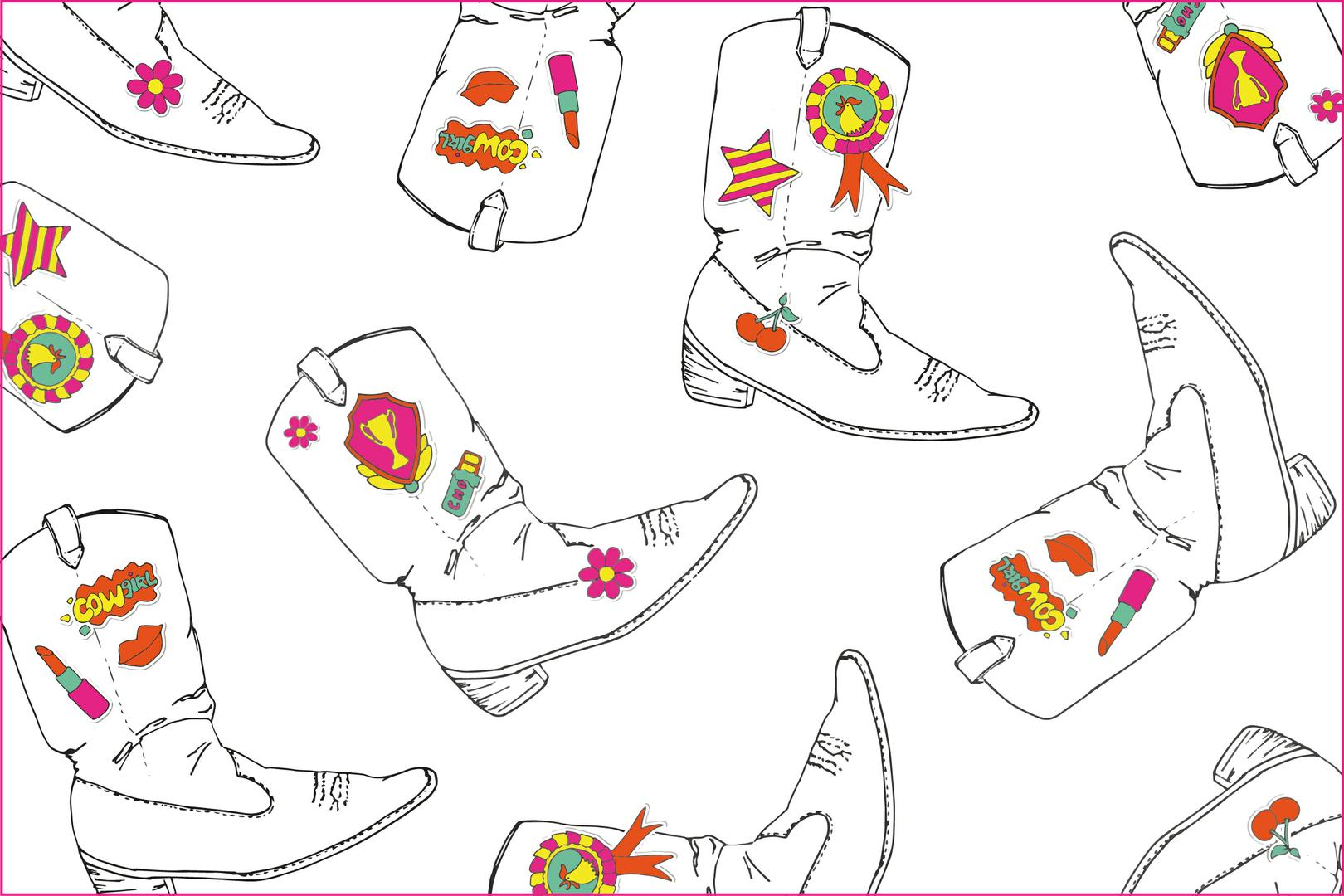 Pattern on tour fashion dessin, boots, teenage pattern, tiener patroon, interior