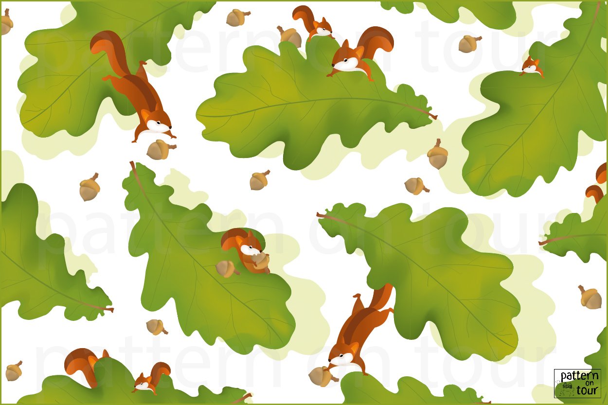 Pattern on tour, autumn dessin eekhoorn patroon wallpaper behang nature