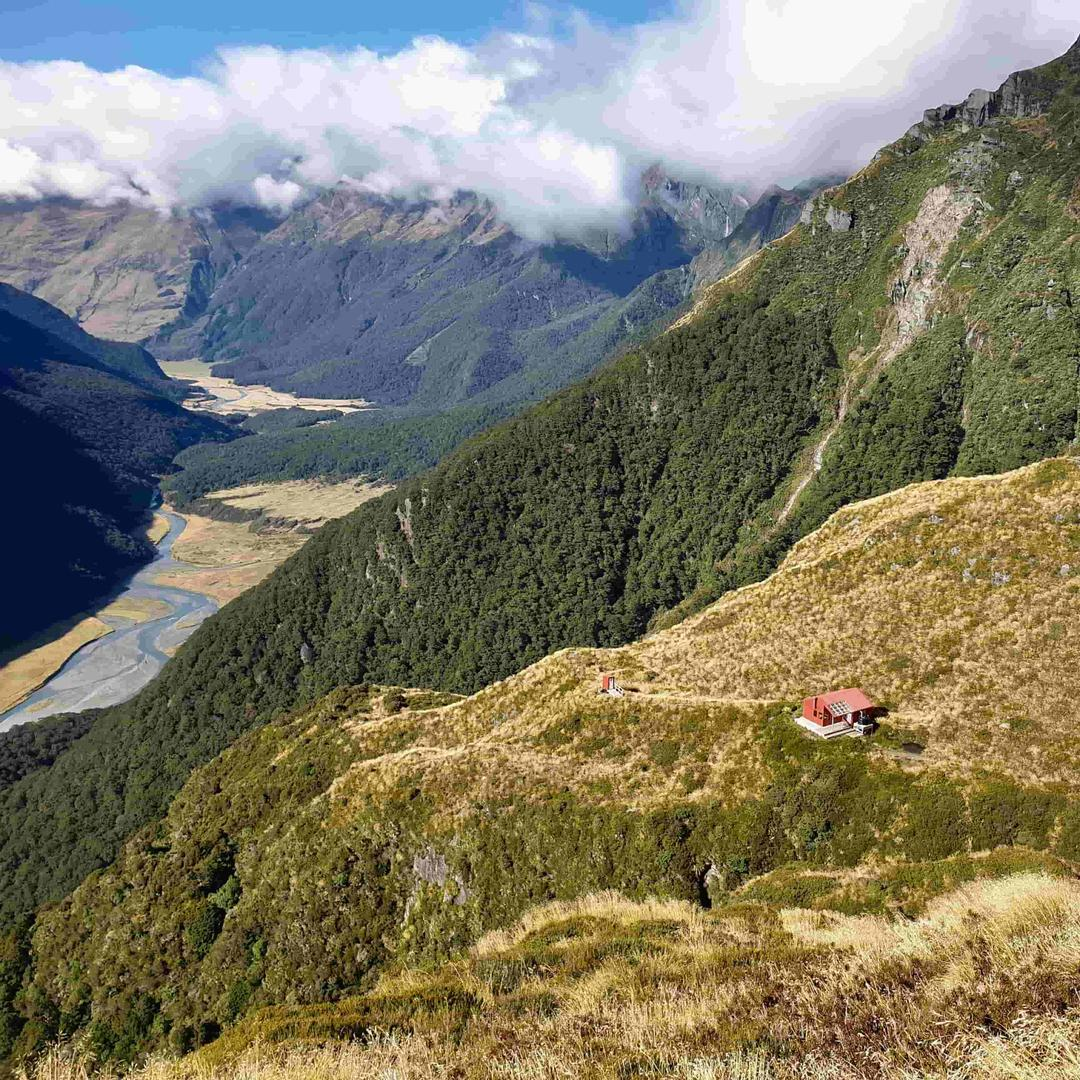 Uitzicht Liverpoolhut in Aspiring National Park NZ