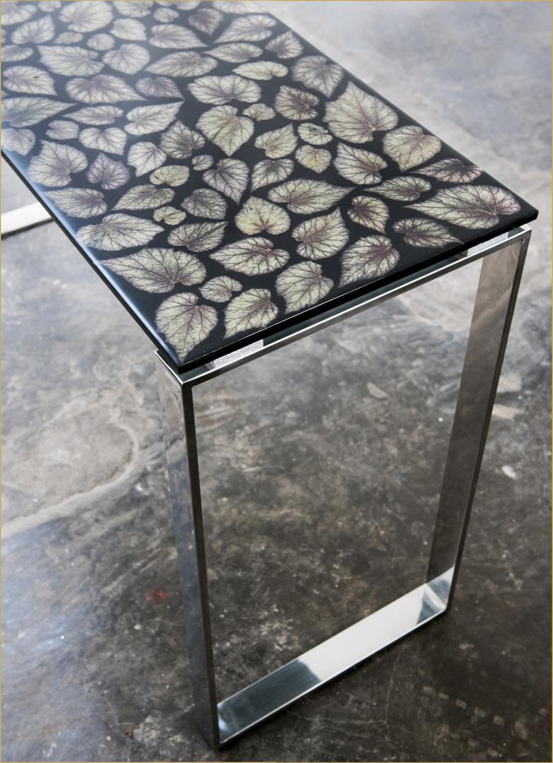 cosole table bespoke design nature inspired table table with natural top resin table
