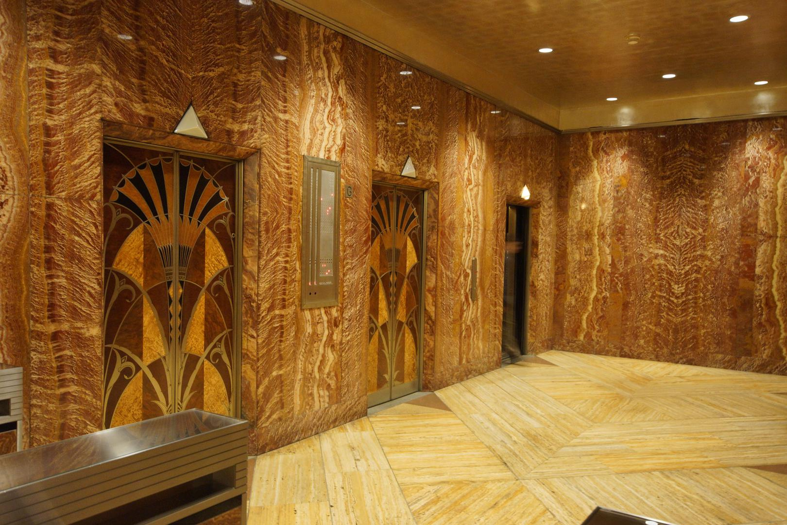 Chrysler Building elevator lobby; image from Wikipedia.